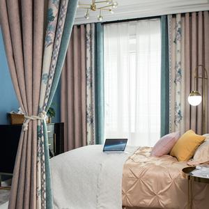 拼色仿羊绒北欧简约现代雪尼尔窗帘无缝拼接卧室客厅遮光轻奢成品
