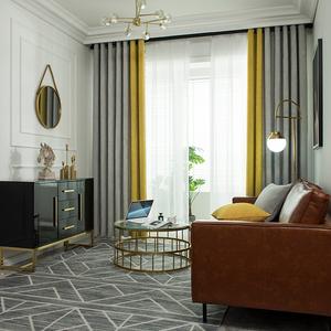 灰黄加厚轻奢仿羊绒雪尼尔无缝拼接窗帘遮光拼色现代简约客厅卧室