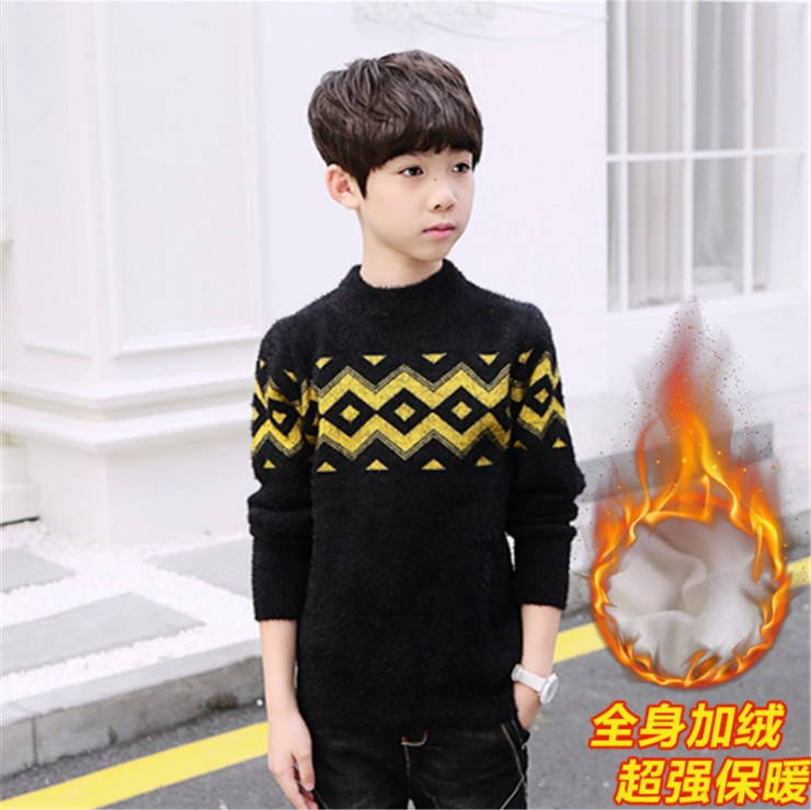Winter sweater Pullover mink cashmere thickened middle school childrens sweater Plush sweater childrens cashmere sweater warm childrens clothing