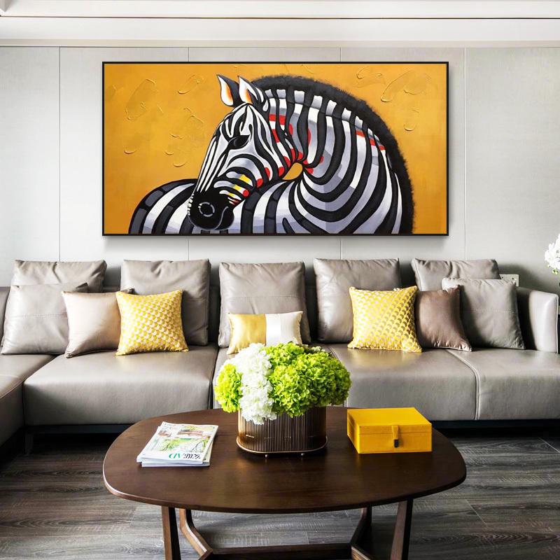 纯手工手绘loft风格斑马黄色油画