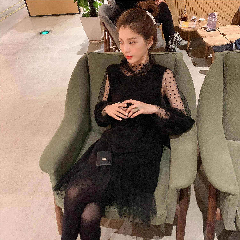 2018秋冬新款韩版透视网纱拼接黑色针织连衣裙女中长款修身打底裙