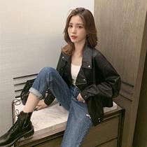 2019秋季新款韩版西装领PU皮夹克外套潮宽松休闲上衣女重工设计感