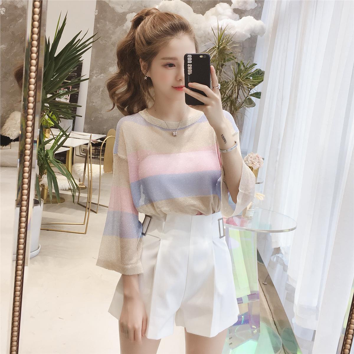 2018夏季新款宽松套头亮丝彩色条纹防晒针织衫女学生薄款罩衫上衣