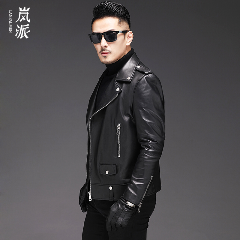 Haining leather leather men's soft sheepskin short motorcycle jacket star the same paragraph ultra-thin leather jacket jacket tide