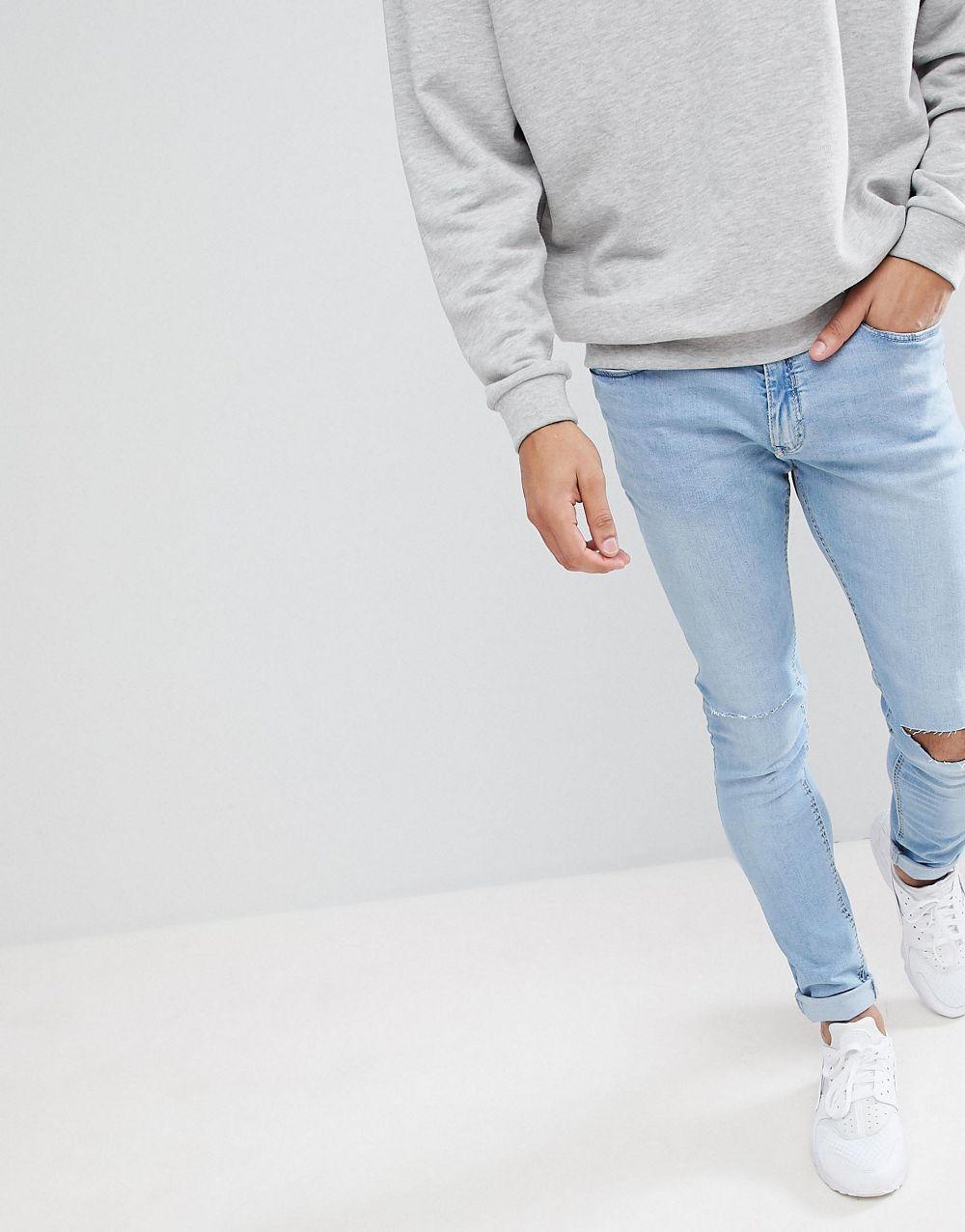 Закупки в великобритании подлинный весна улица мойка отверстие ноги хлопок мужчина движение джинсы 01.13