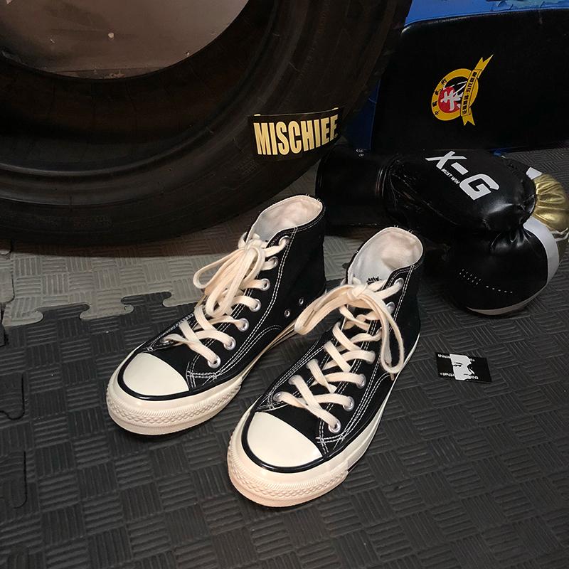 10月17日最新优惠言大叔 高帮帆布鞋女ins韩版百搭学生ulzzang经典街拍1970s板鞋子