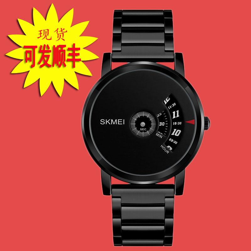 时刻美香港休闲石英创意纯黑防水时来运转手表抖音男无指针概念表