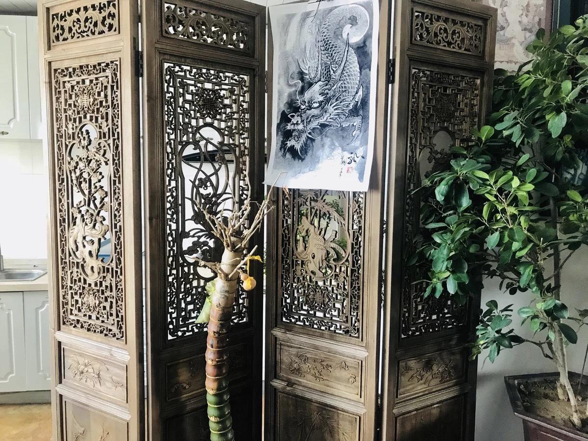 中式屏风隔断客厅实木做旧移动折屏雕花折叠屏风酒店办公室玄关