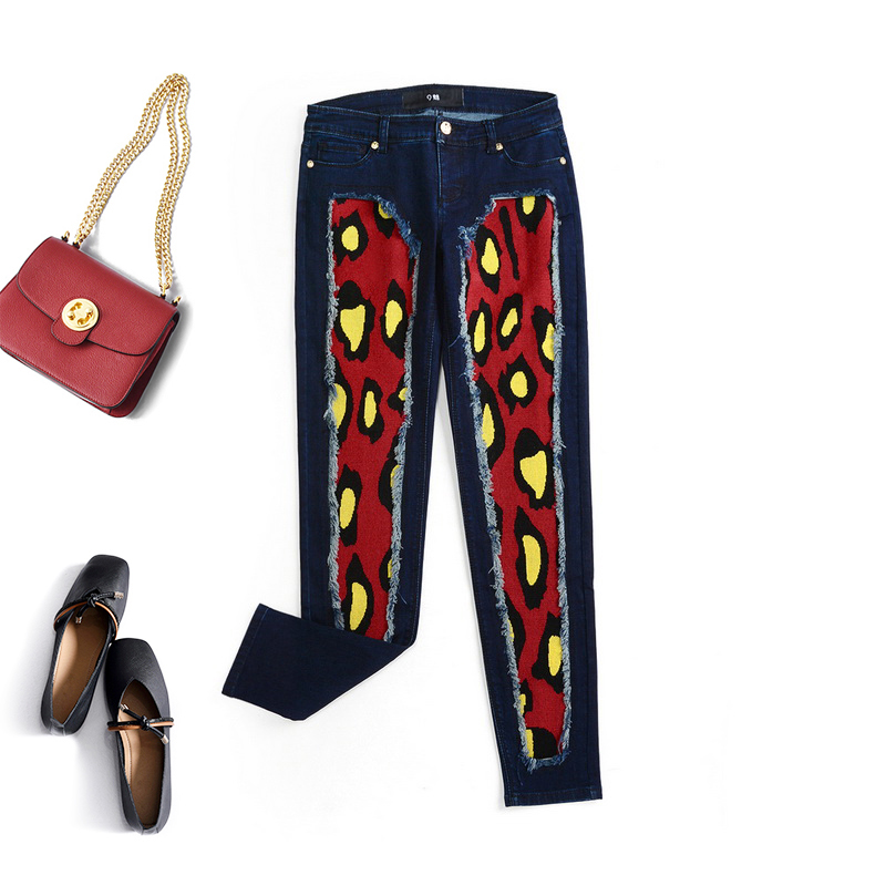 High end gx0s0081 color matching knitting burr decoration fashion eye-catching low waist jeans pants womens autumn 10.19