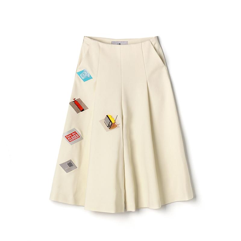 TA0P0025 刺绣显瘦喇叭裤立体高腰七分裤雪纺质感8.28秋