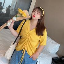 大码百分百女装2020夏季新款百搭针织衫胖MM韩版显瘦冰丝抽绳上衣