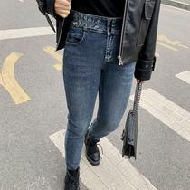 大码女装胖mm2020年春装女裤洋气金属扣修身显瘦胖妹妹百搭牛仔裤