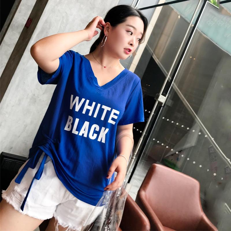 胖mm夏装大码女装2018新款韩版上衣性感V领露背抽绳短袖T恤200斤