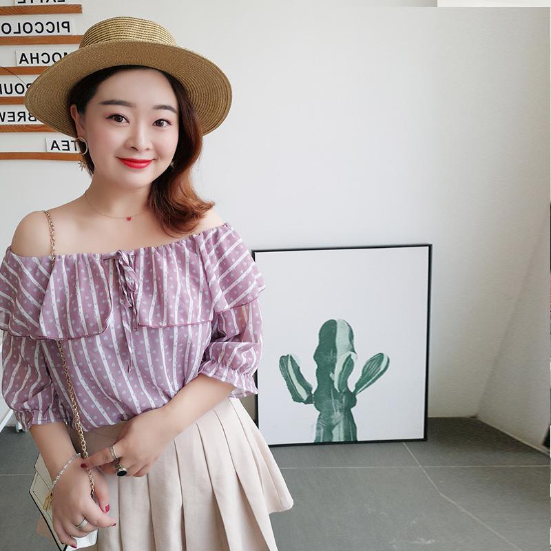 大码女装2018新款胖mm夏装日系甜美减龄心机一字肩遮肚子雪纺上衣