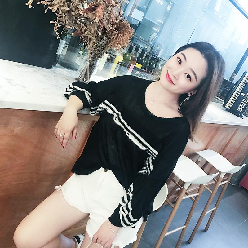 200 цзин, единица измерения веса жир mm женский большой размер весна новый свитер маленький корейский свежий сексуальный микролинз внимание свободный свитер