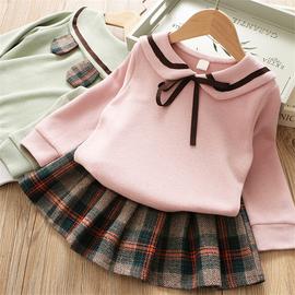 2020秋季童装女童卡通熊耳朵卫衣百褶短裙两件套儿童学院风套装潮