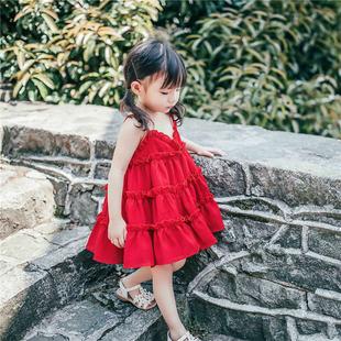 女童連衣裙夏裝2020新款小女孩雪紡沙灘公主吊帶裙女寶寶大紅裙子