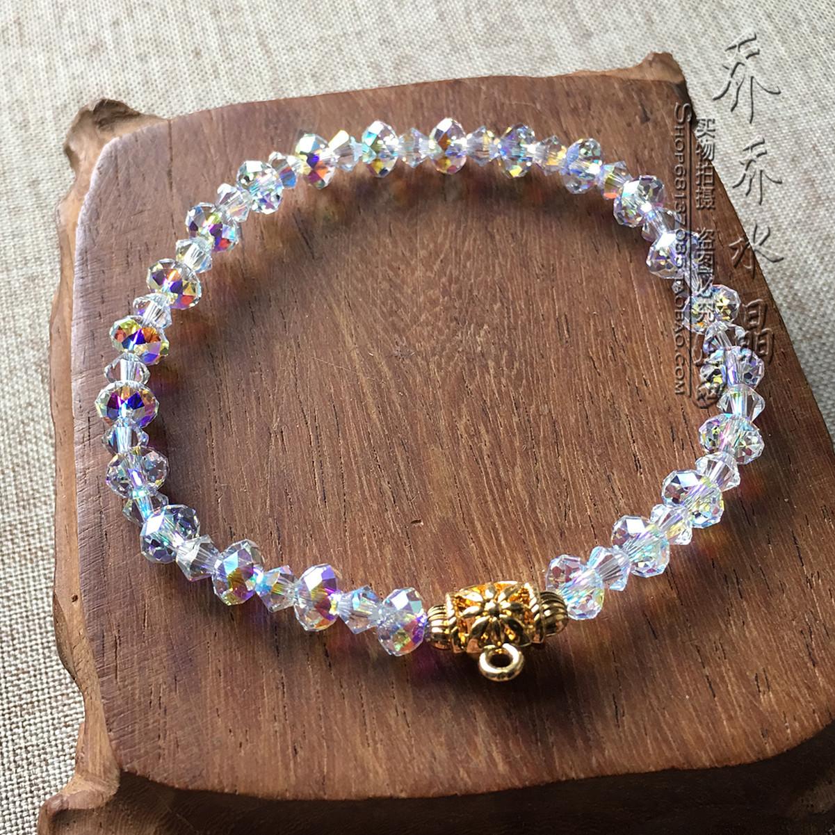 镀彩水晶手链 金色泰国佛牌挂链手串 可定制其他款式