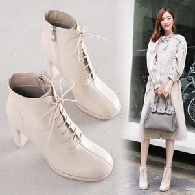 2020秋季新款韩版真皮粗跟马丁靴