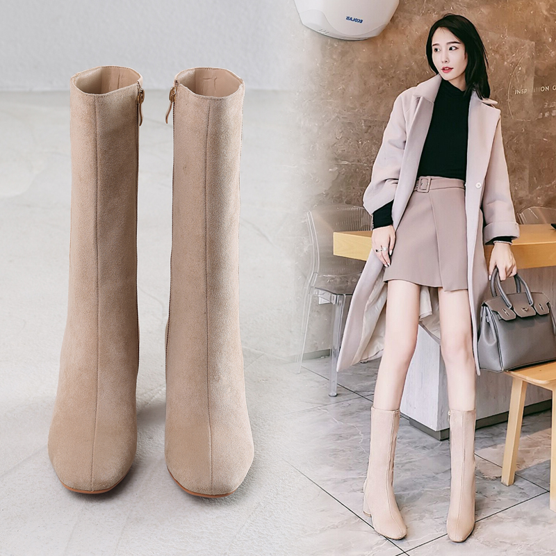 2020 autumn new retro thick-heeled knight boots high-heeled mid-tube boots frosted women's boots mid-boots thin elastic boots