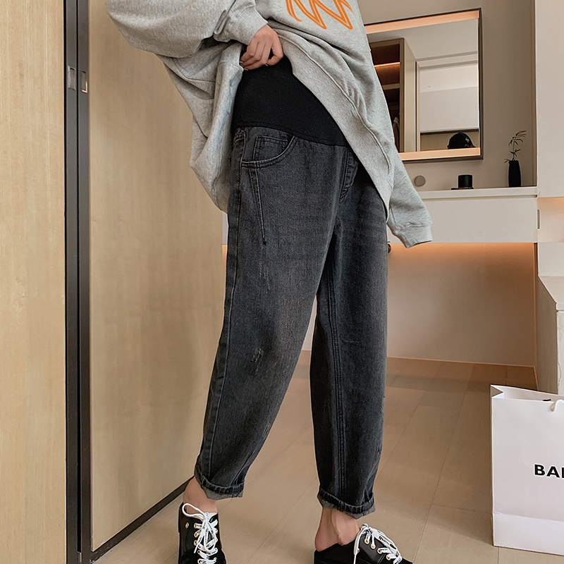 2019 pregnant women pants spring and autumn pregnant women jeans large size out small foot belly support Harem Pants autumn wear 9 thin
