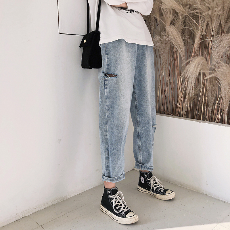 2019 new pregnant womens pants spring and autumn jeans large size outer wear small foot high waist belly support Harlan pants autumn 9 points