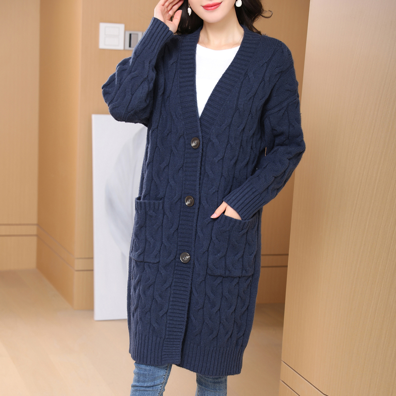 Flying lady 2021 new woolen sweater womens cardigan coat super long sweater loose foreign style