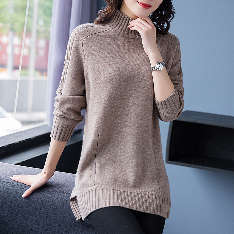 Flying lady 2020 new cashmere sweater half high neck medium length thickened sweater womens bottomed sweater 83133