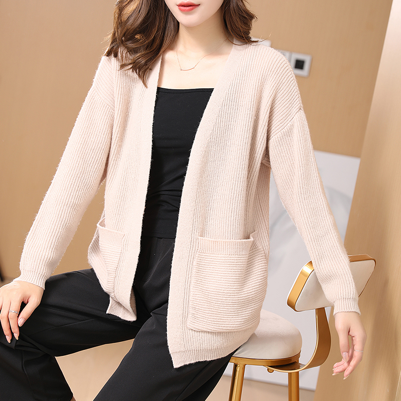 Flying lady 2021 new autumn and winter woolen sweater womens 100 pure wool cardigan medium length sweater jacket