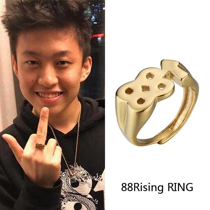 10月20日最新优惠rich brian同款88rising上升开口戒指男女嘻哈说唱潮人百搭食指环
