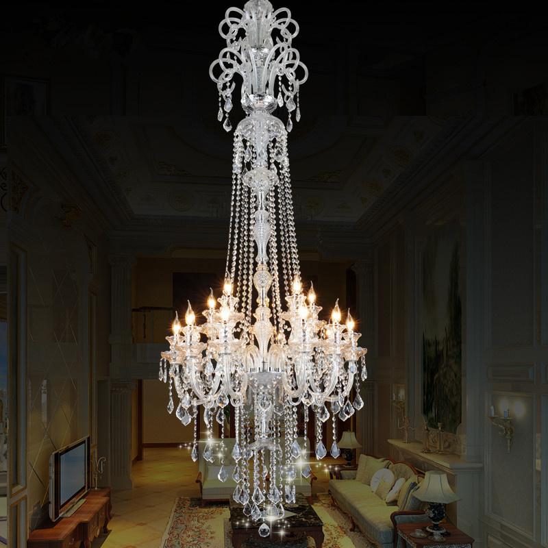 楼梯吊灯欧式水晶吊灯复式楼别墅客厅灯大气餐厅旋转楼梯间长吊灯