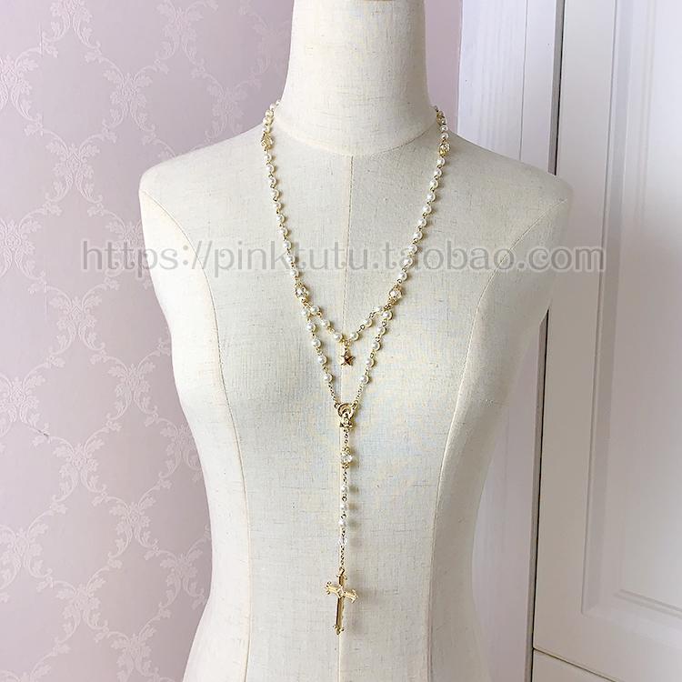 哥特复古少女的祈祷 LOLITA珍珠水钻金色款双层星星十字架长项链