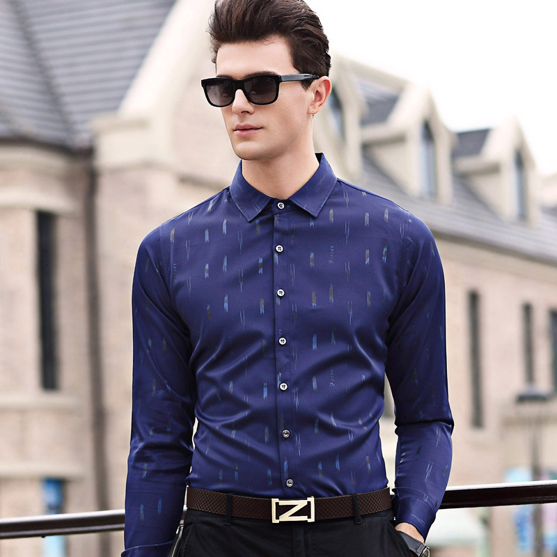 Autumn Men's Young Men's Thin Long Sleeve Shirts Shirts Shirts Printed Shirts Men's Daddy Summer One Generation