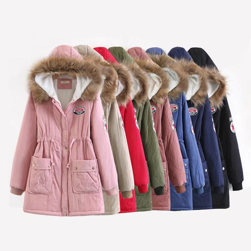 AliExpress foreign trade explosion cashmere coat Europe and the United States wind peach hooded lamb hair liner in the l