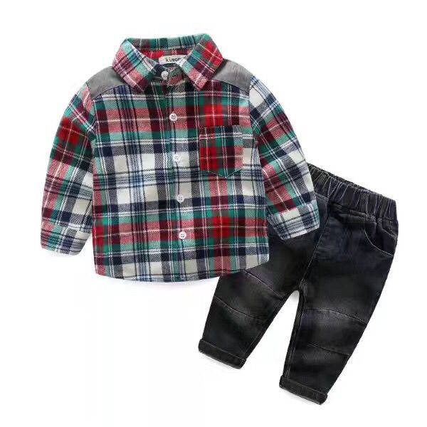 A generation of foreign trade spring and autumn new children's fashion boy plaid shirt Slim jeans two-piece
