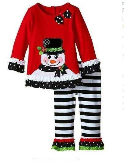 New European and American children's fashion girls new year Christmas snowman lace set a generation