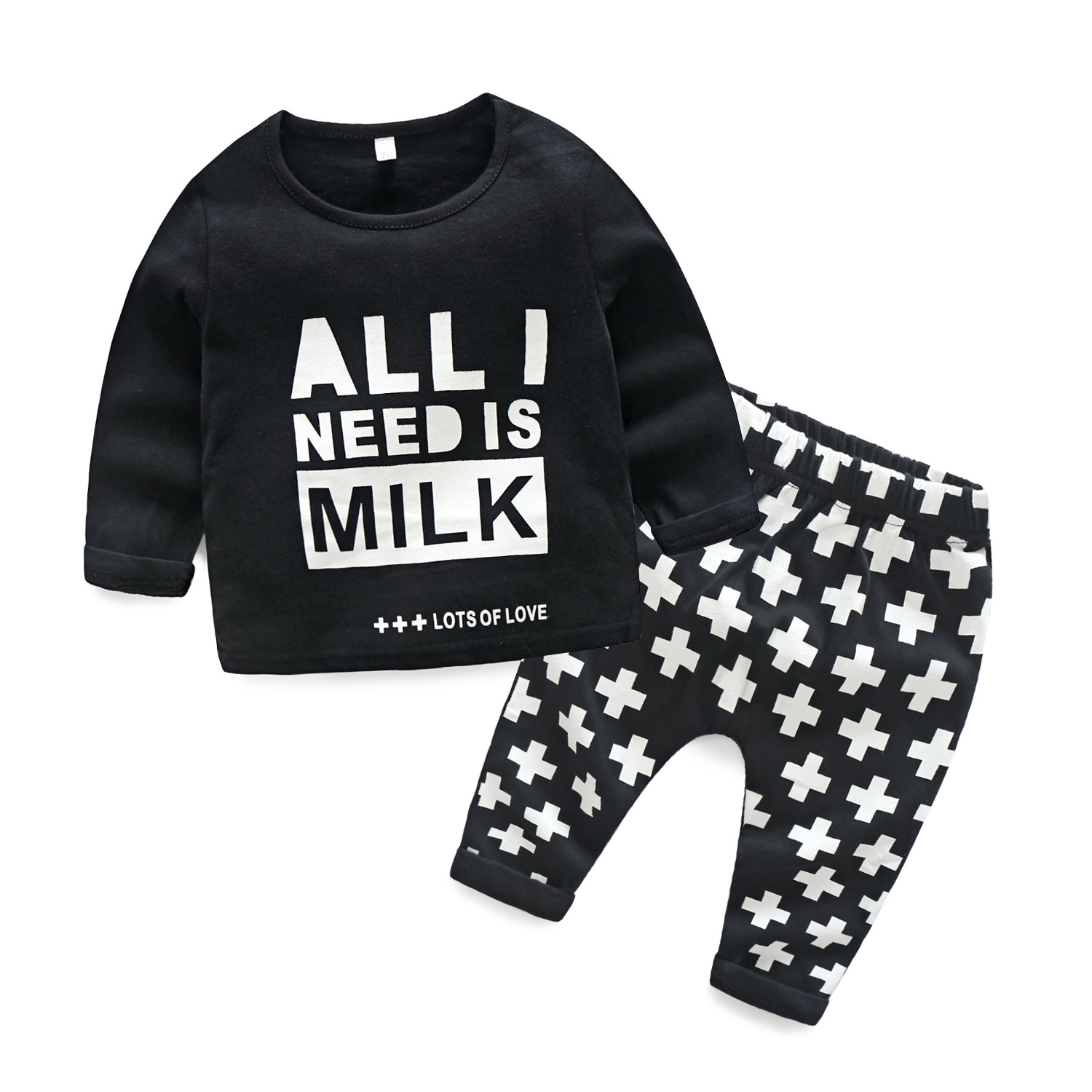 A undertakes to Europe and the United States during the spring and autumn the new baby boy two-piece long letters Virgin