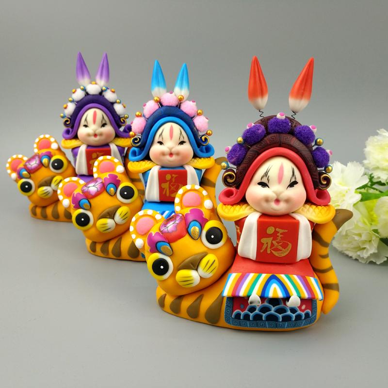 兔爷软陶兔爷北京礼物免儿爷手工艺品摆件单位会议出国礼品