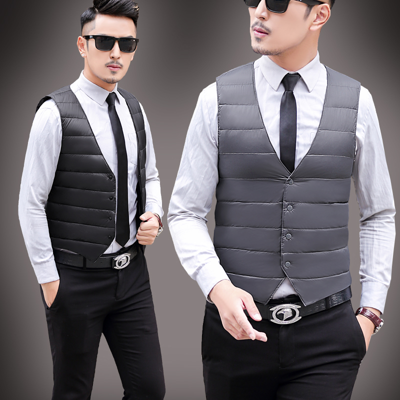 Season winter mens jacket business suit light and thin warm down vest with waistband and slim fitting new leisure liner