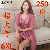 夏季女士性感两件套睡袍胖MM加肥加大200斤睡裙女宽松吊带大码裙
