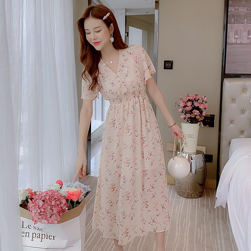 實拍2020夏季新款花色雪紡松緊腰短袖大擺型荷葉袖雛菊連衣裙