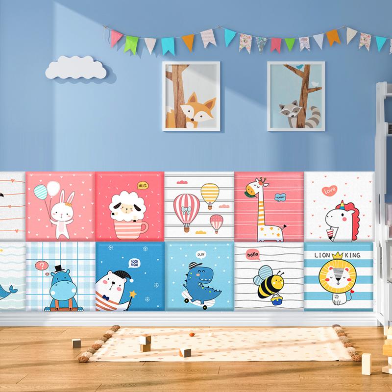 儿童房墙面装饰防撞软包墙贴纸自粘榻榻米墙围贴画墙泡沫板3d立体