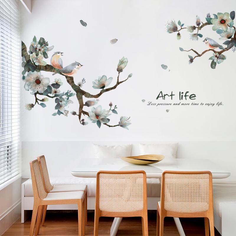 新中式水墨花鸟客厅卧室墙纸自粘电视背景墙装饰品走廊玄关墙贴画券后19.90元