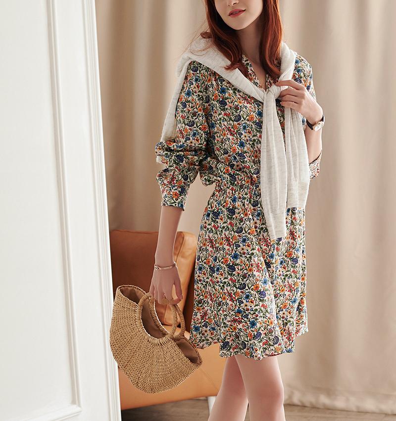 法式浪漫16姆真丝印花长袖收腰裙子