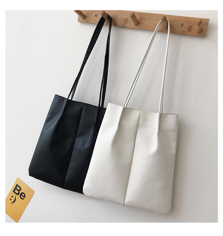 One shoulder big bag simple soft leather large capacity bag school style new 2020 handbag womens bag Bucket Bag