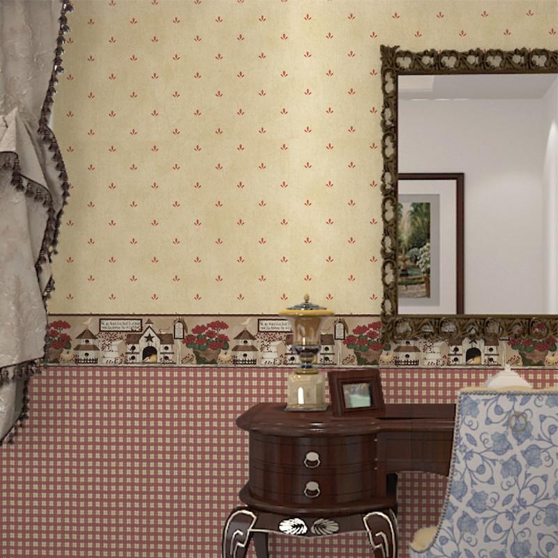 美式乡村田园风格复古红色格子墙纸AB版无纺布卧室客厅背景墙壁纸