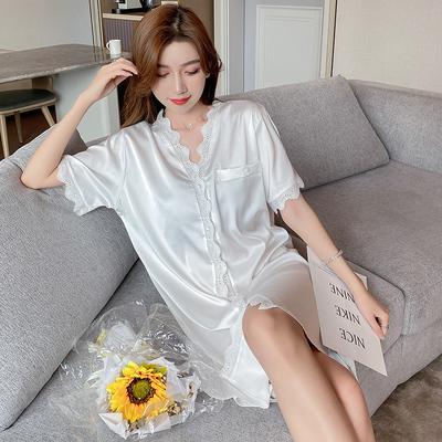 2021睡裙女春夏季冰丝性感薄款短袖衬衫网红爆款中长款睡衣高级感