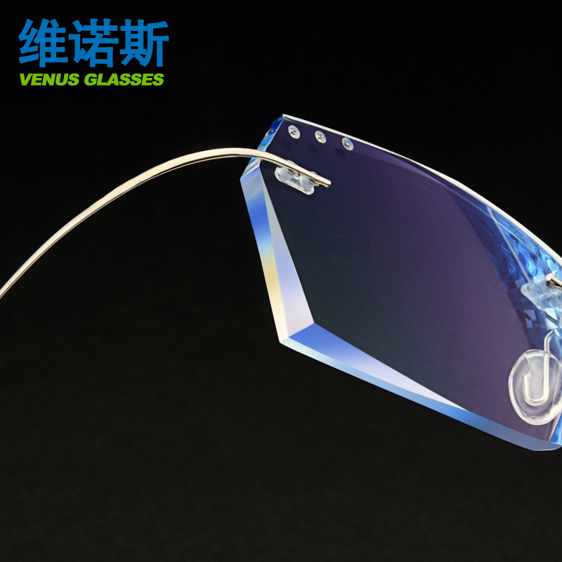 超轻纯钛无框近视眼镜男商务钻石切边平光配成品渐变色防雾防蓝光