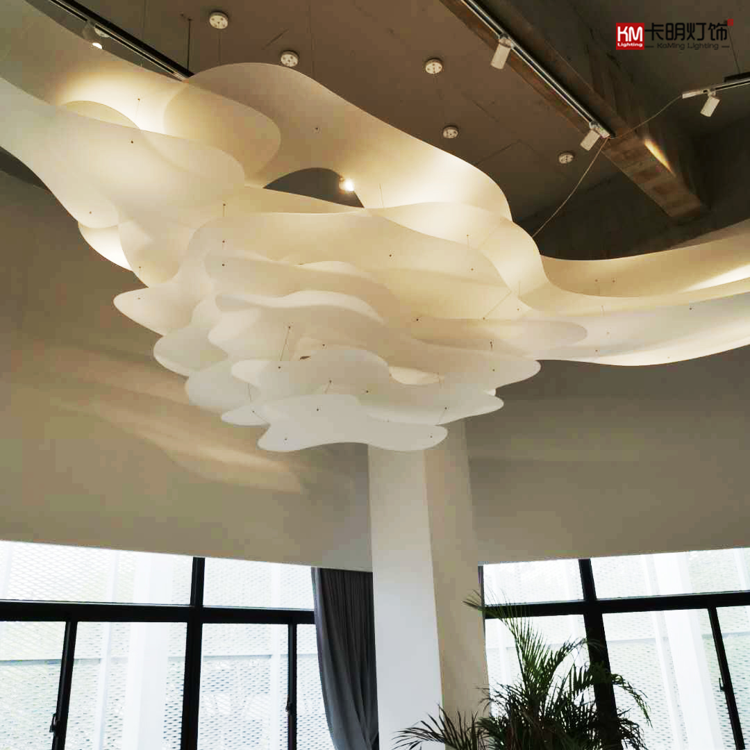 Floating white cloud modern simple large hotel living room chandelier Sales Department KTV creative art personalized cloud lamp