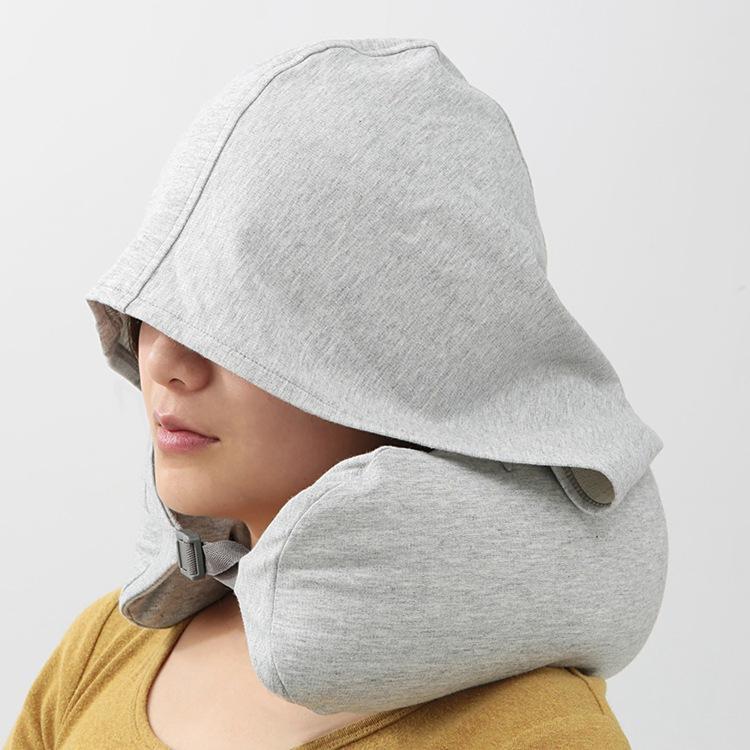 12月02日最新优惠日式U型枕连帽旅游便携旅行飞机遮光枕办公室脖子颈枕多功能靠枕